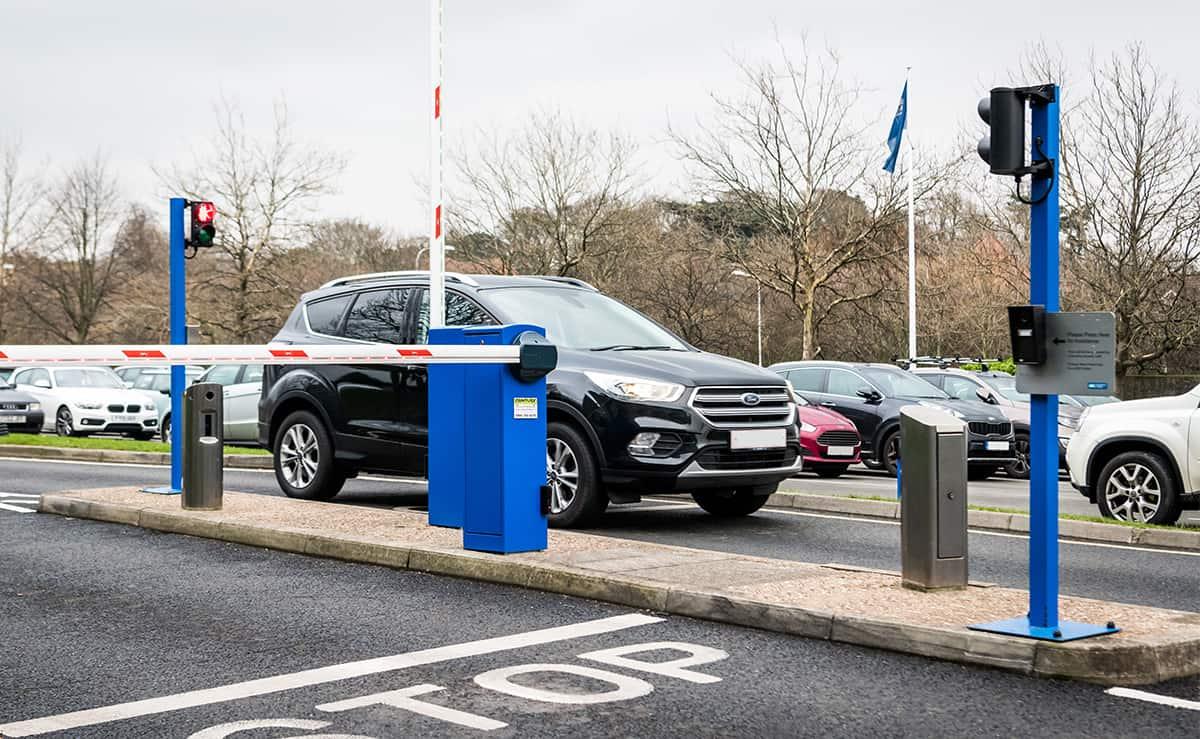 Car driving through ANPR barrier